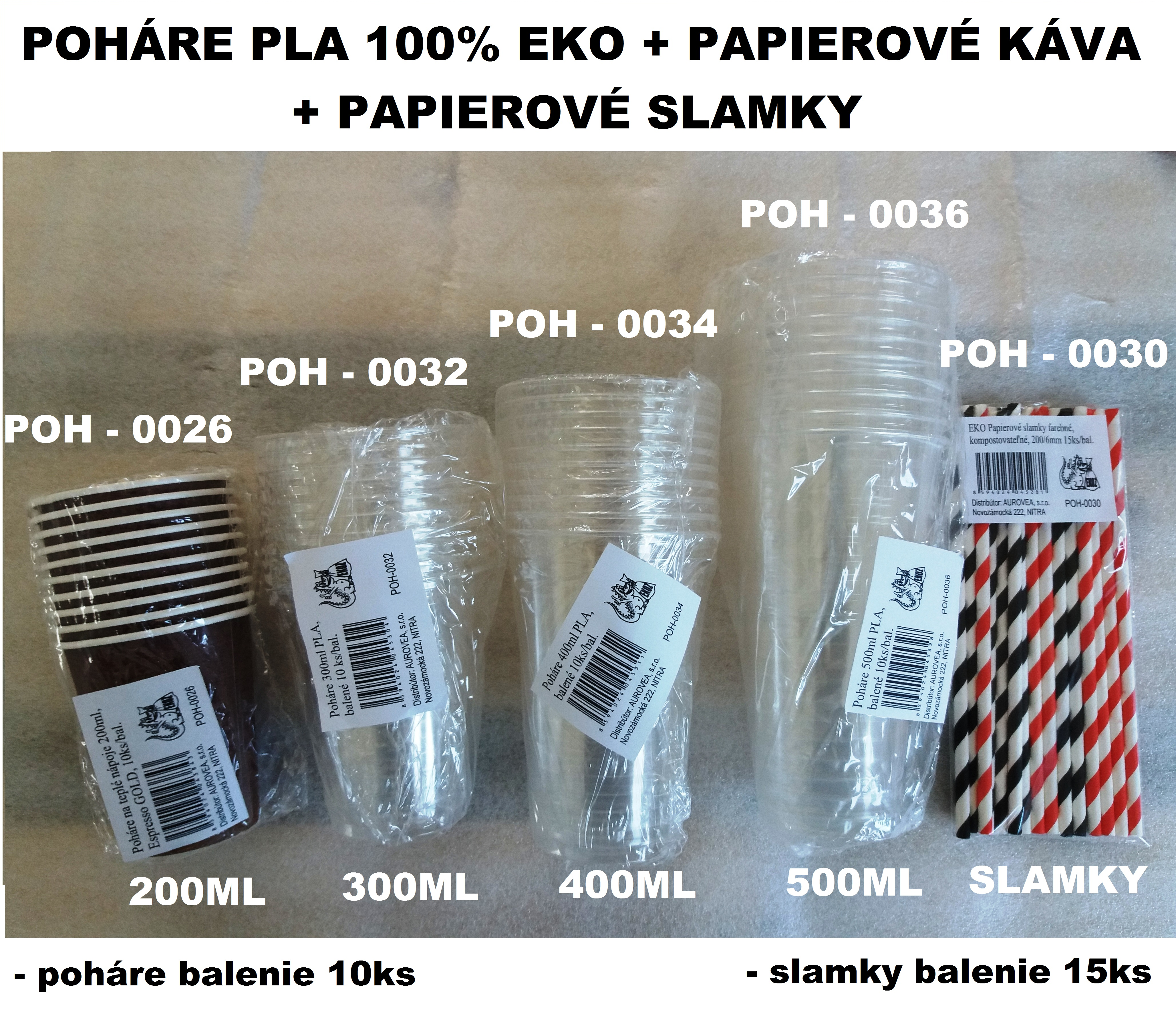 POHÁRE 500ML PLA 100% KOMPOST. 1BAL/10KS